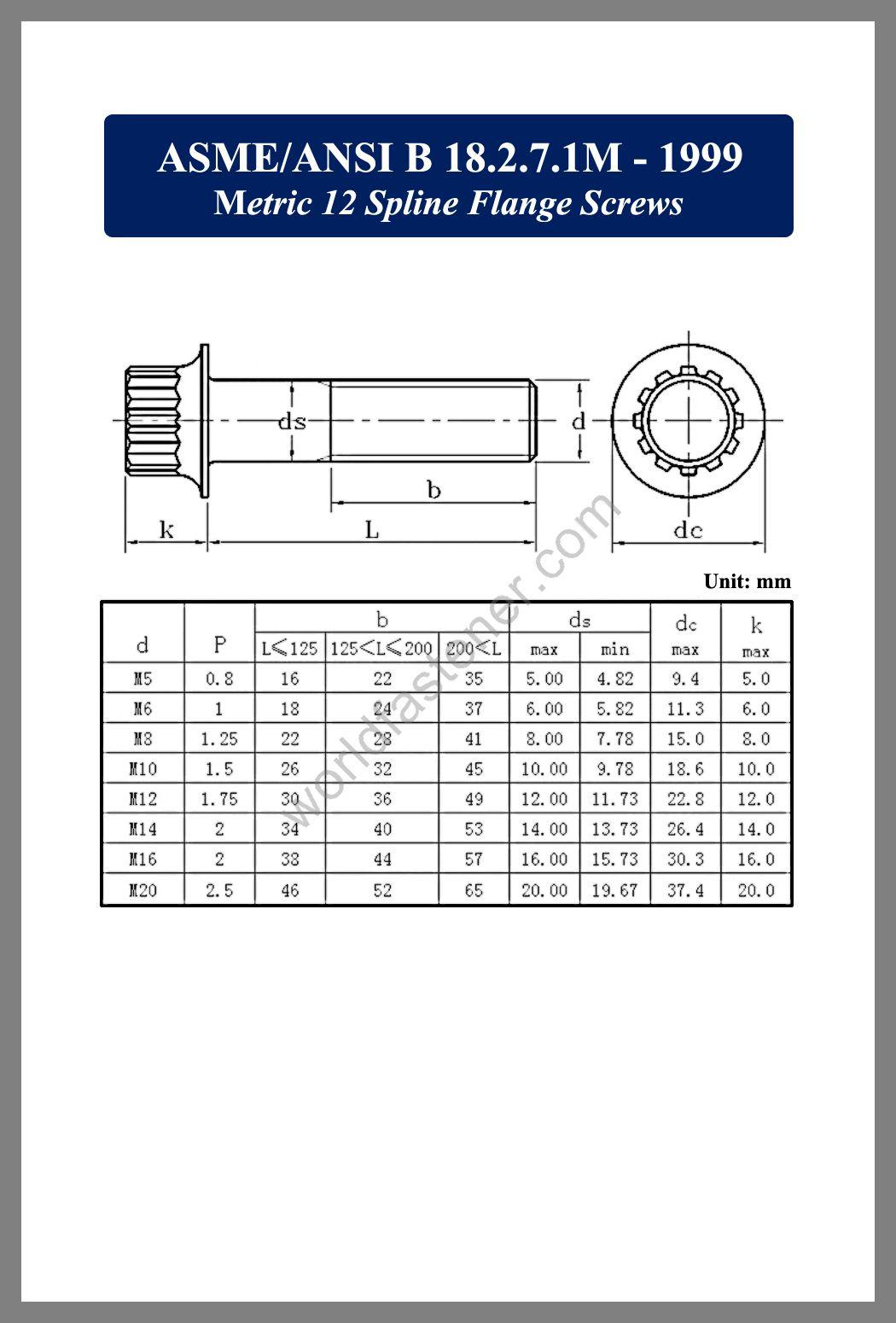 Metric 12 spline flange screws