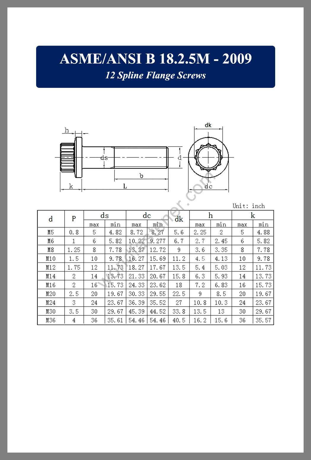 ASME-ANSI B18.2.5M, 12 spline flange screws, fastener, screw, bolt, asme-ansi bolts, asme-ansi screws