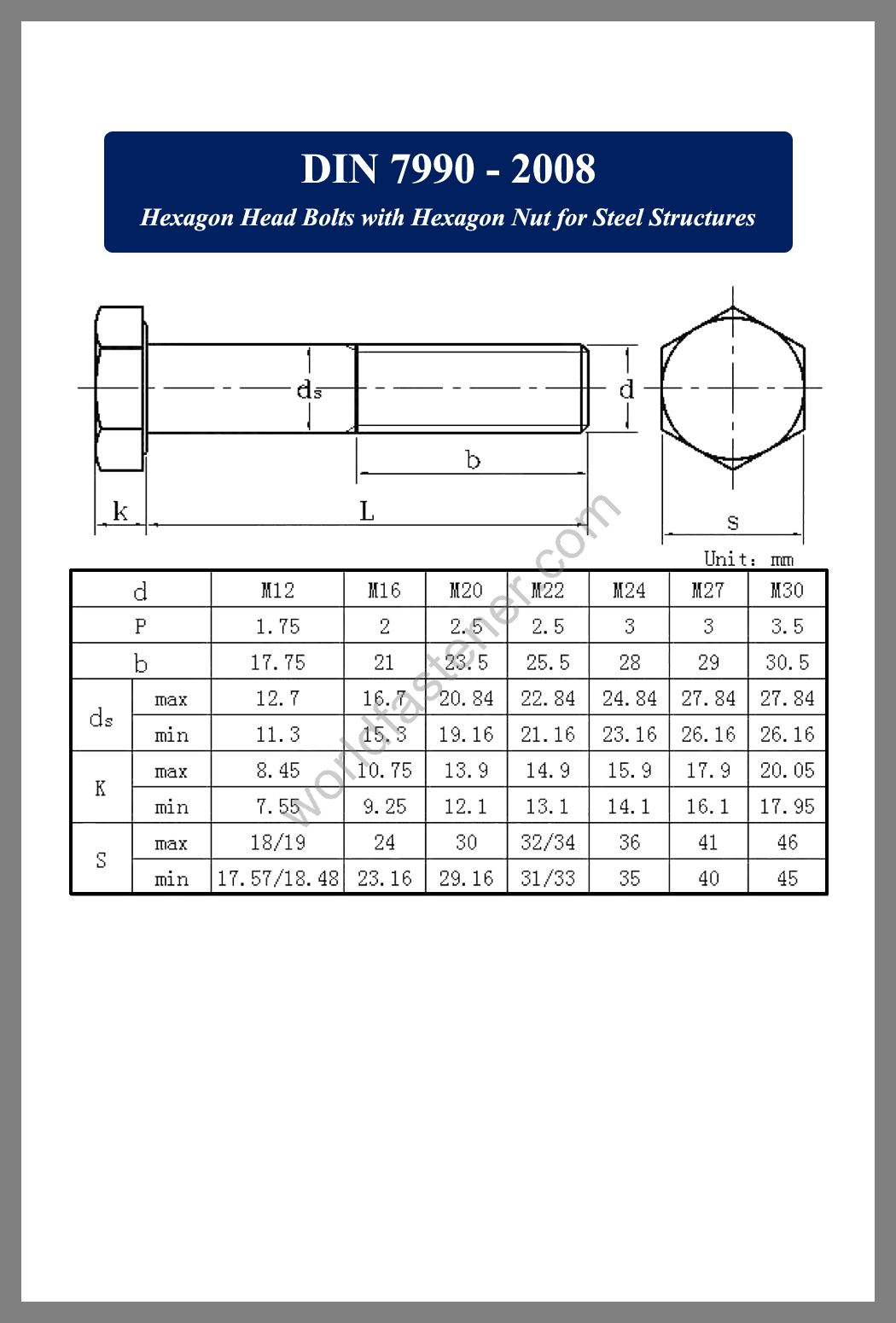 DIN 7990, DIN 7990 Hexagon Bolts for Steel Structures, fastener, screw, bolt