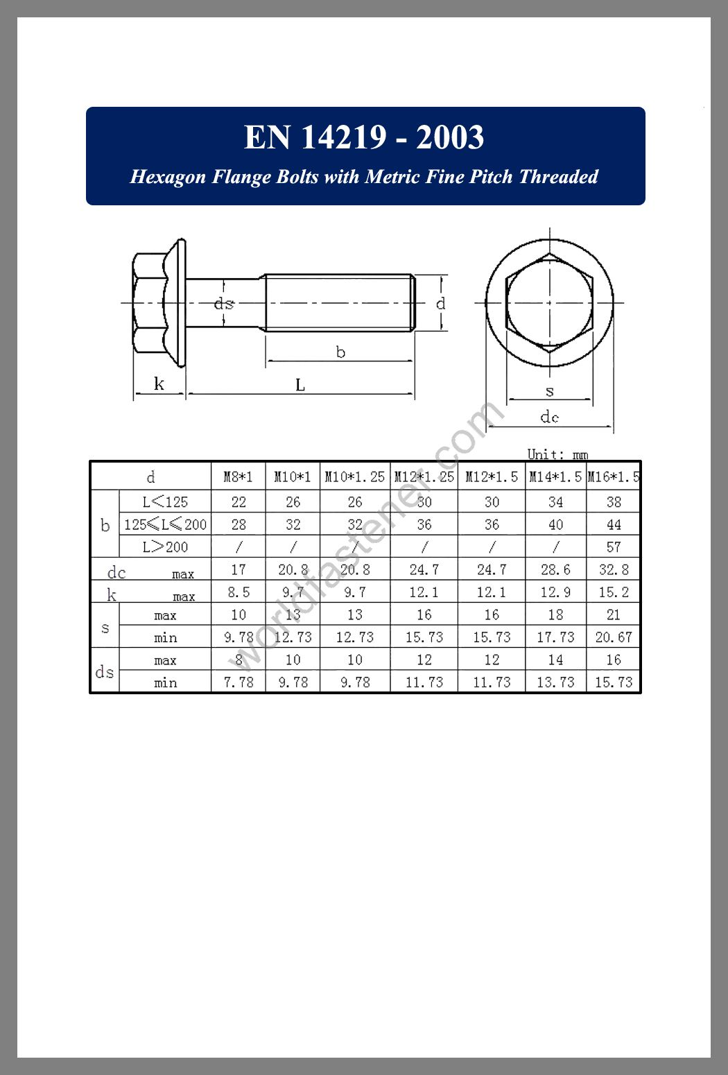 EN 14219, Flanged Bolts, Flange screws, fastener, screw, bolt, EN bolts