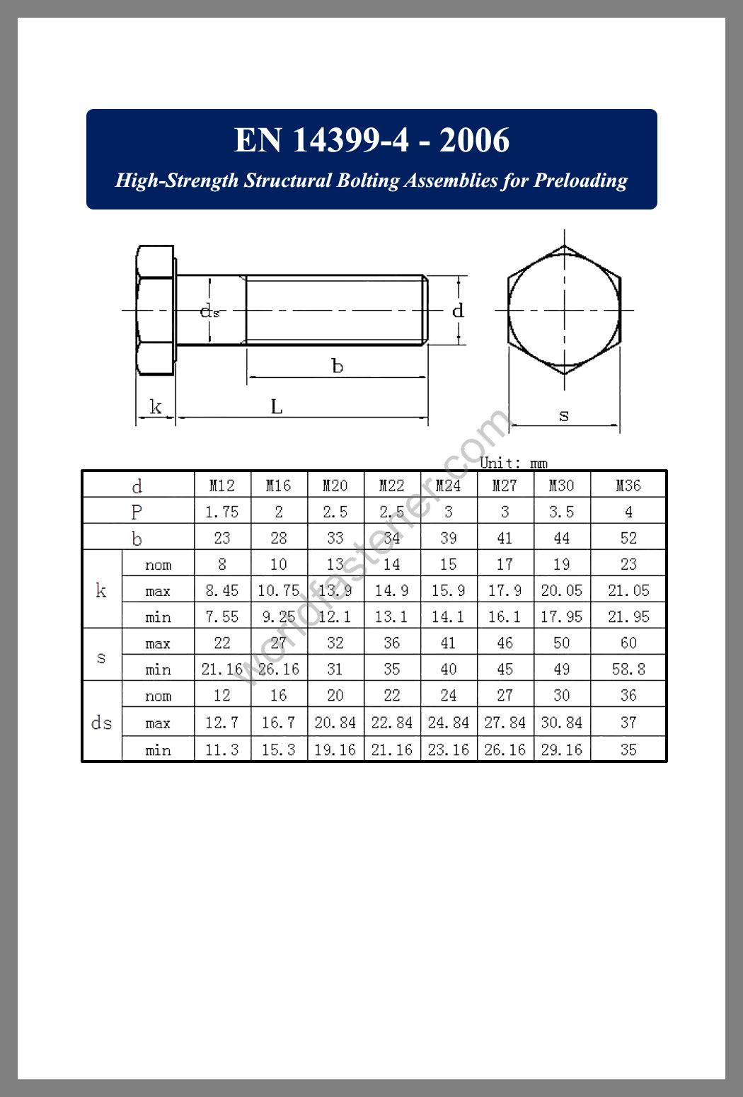 EN 14399-3, EN 14399-3 High Strength Structural Bolting, fastener, screw, bolt, EN bolt