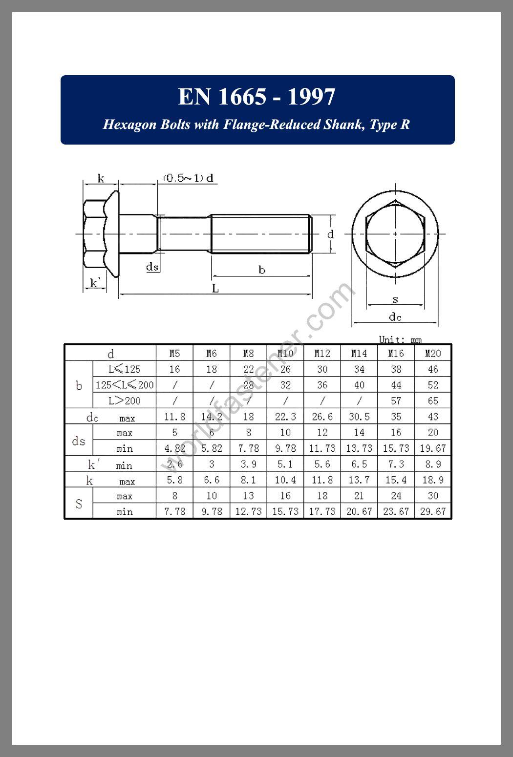 EN 1665, Flanged Bolts, Flange screws, fastener, screw, bolt, EN bolts