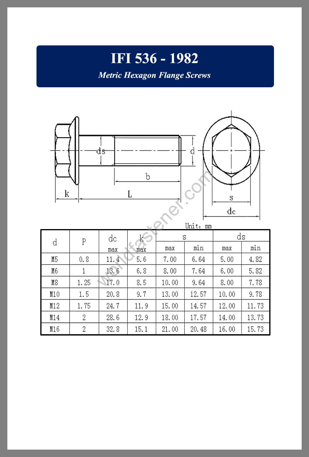IFI 536, IFI 536 Flanged Bolts, Flange screws, fastener, screw, bolt, IFI bolts