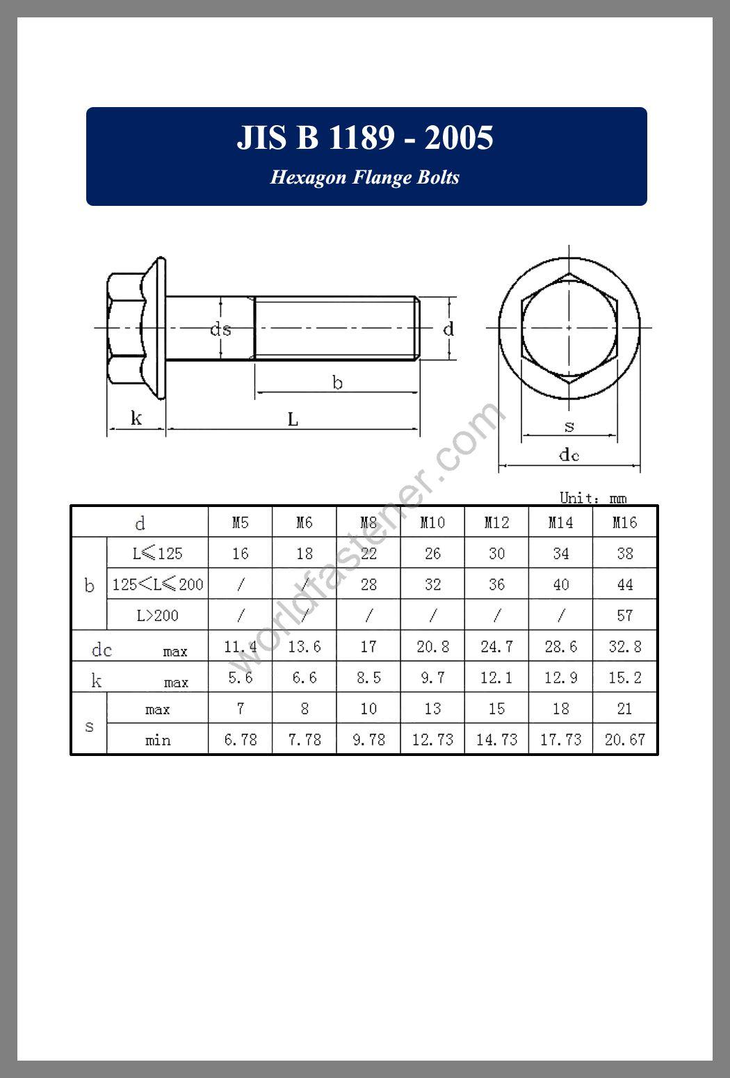 JIS B 1189, JIS B 1189 Flanged Bolts, JIS B1189, Flange screws, fastener, screw, bolt, JIS bolts