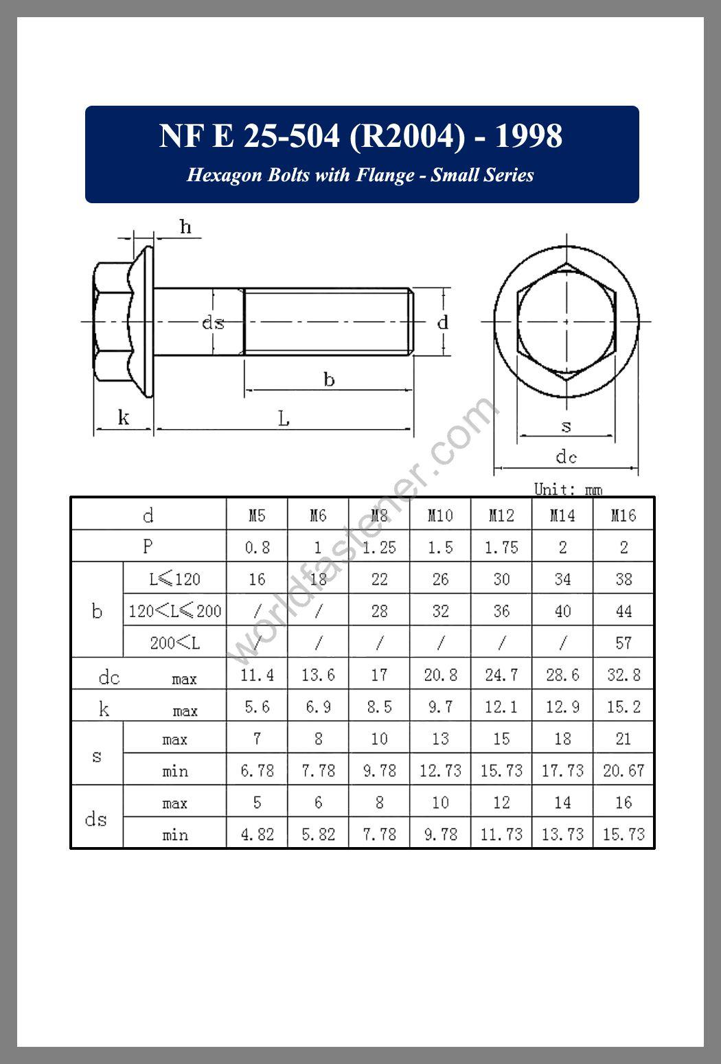 NF E25-504, NF E25-504 Flanged Bolts, NF E 25-504, Flange screws, fastener, screw, bolt, NF bolts