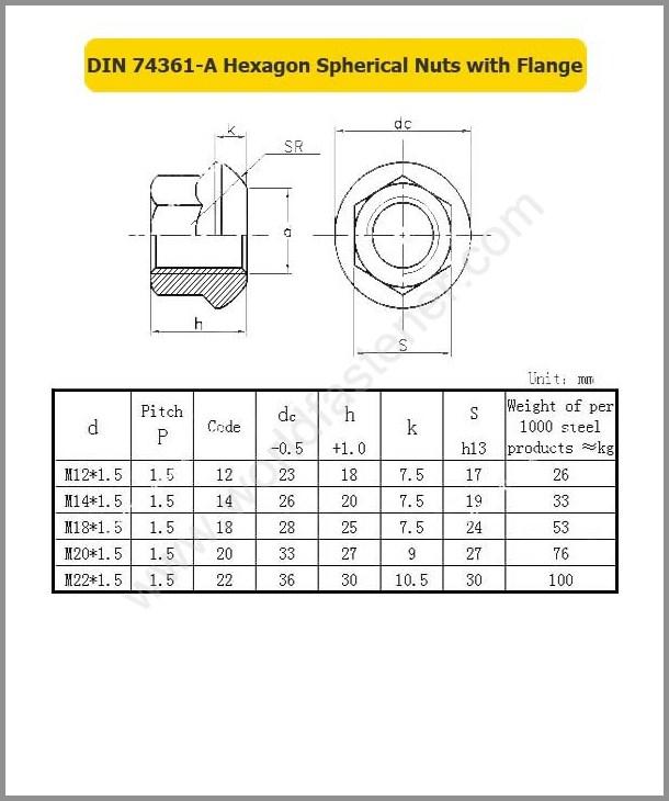 DIN 74361-A, Wheel Nut, Fastener, Nut, DIN Nut