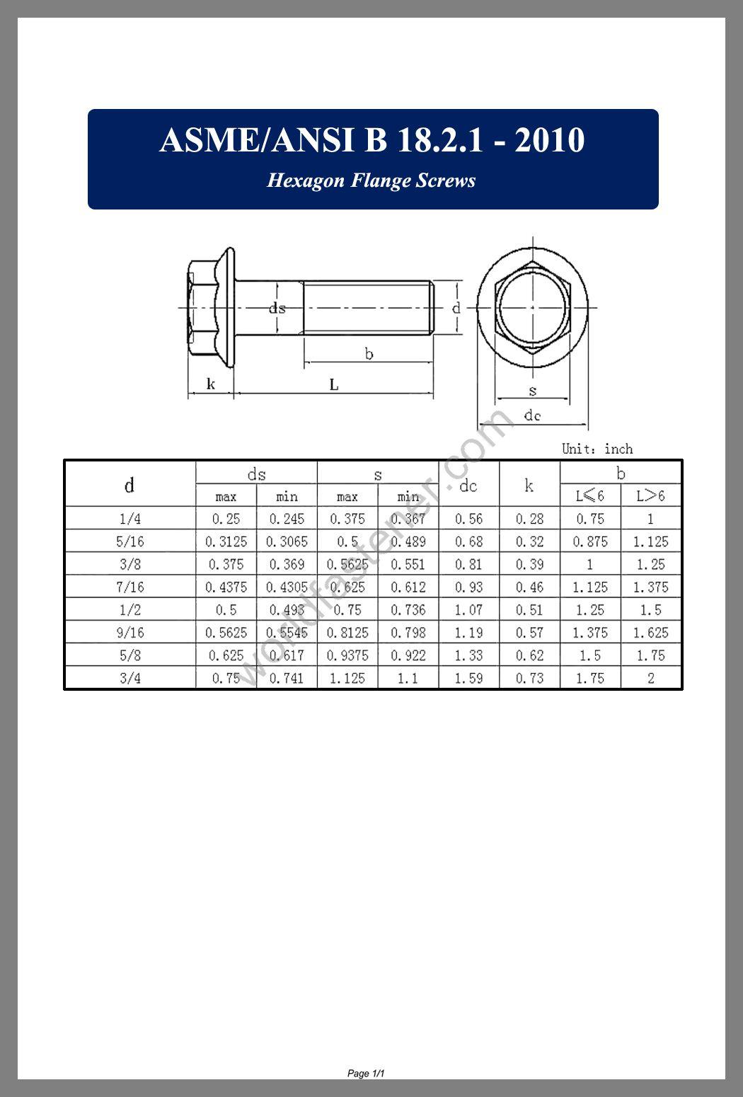 ASME-ANSI B 18.2.1 Flanged Bolts, Flange Bolts, fastener, screw, bolt, ASME bolts, ANSI screws