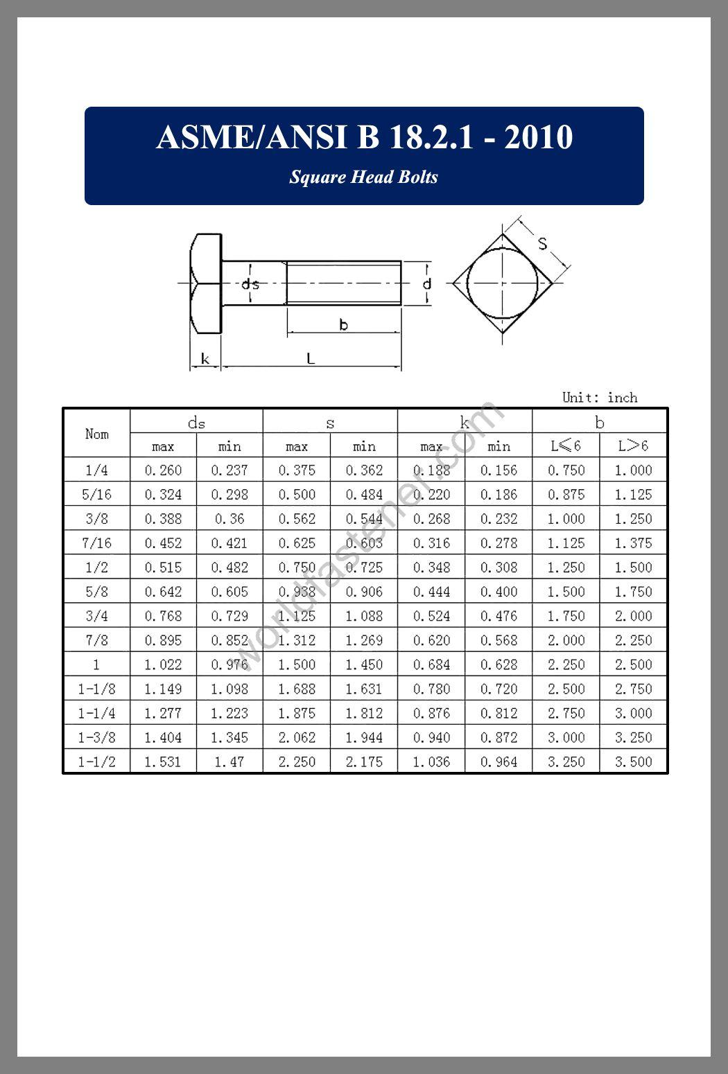ASME-ANSI B18.2.1, ASME-ANSI B18.2.1 Square Head Bolts, fastener, screw, bolt