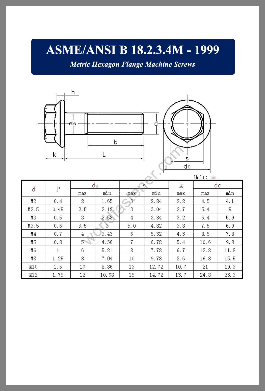 ASME-ANSI B 18.2.3.4M, Flanged Bolts, Flange screws, fastener, screw, bolt, ASME bolts, ANSI screws