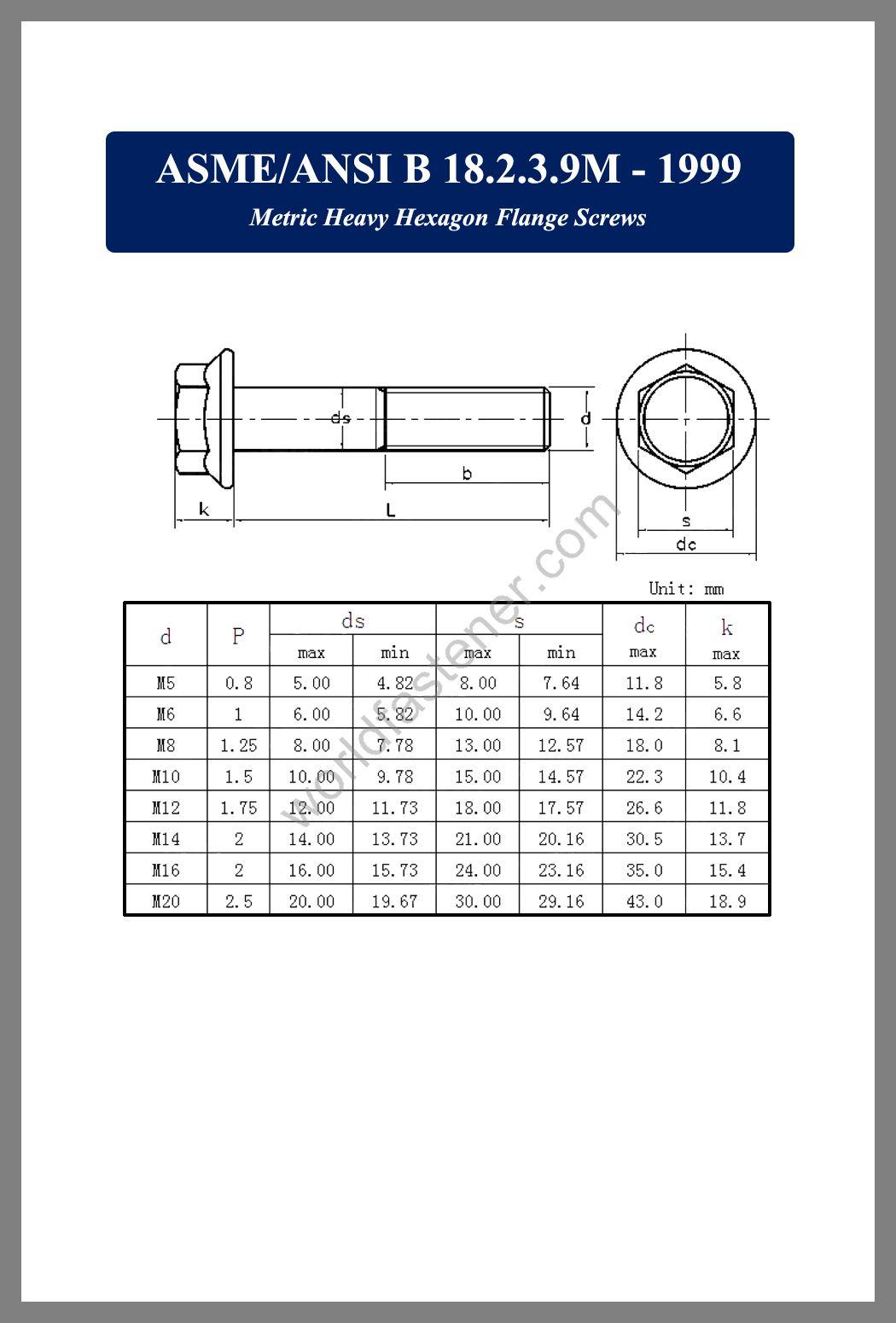 ASME-ANSI B 18.2.3.9M, Metric Heavy Hexagon Flange Screws, Flanged Bolts, Flange screws, fastener, screw, bolt, ASME bolts, ANSI screws