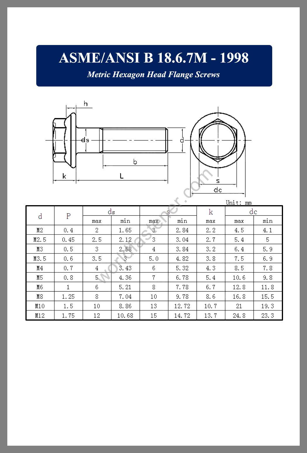 ASME-ANSI B 18.6.7M, Metric Hexagon Flange Screws, Flanged Bolts, Flange screws, fastener, screw, bolt, ASME bolts, ANSI screws