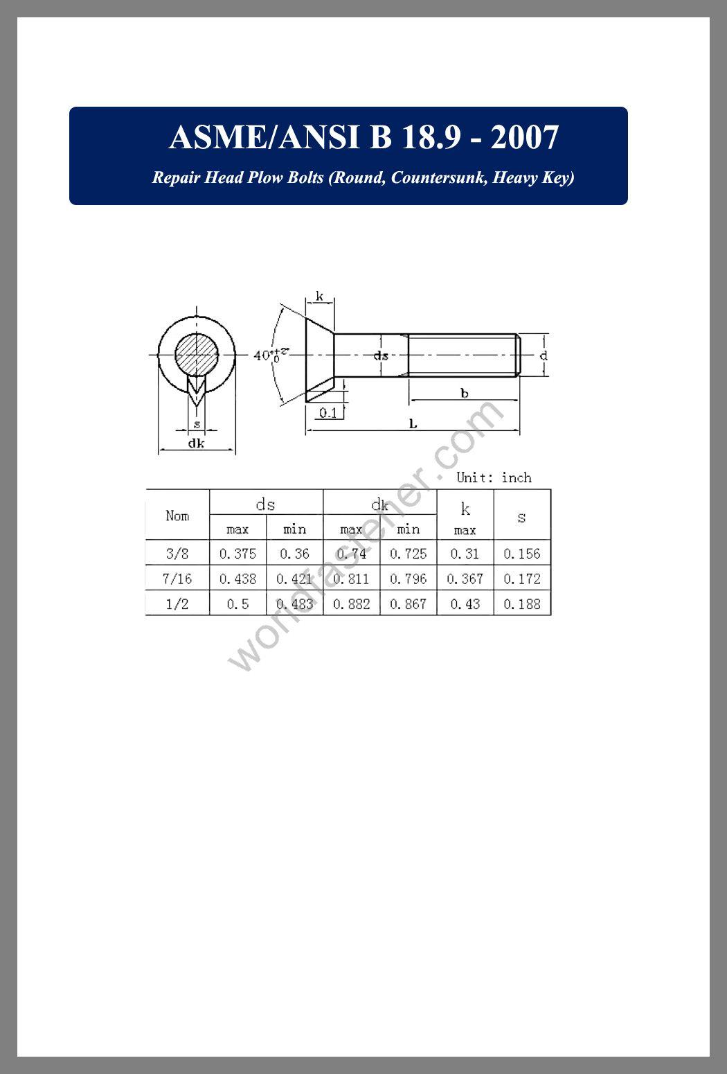 ASME-ANSI B 18.9, Countersunk Head Bolts, Countersunk Head Screws, fastener, screw, bolt, asme-ansi bolts, asme-ansi screws