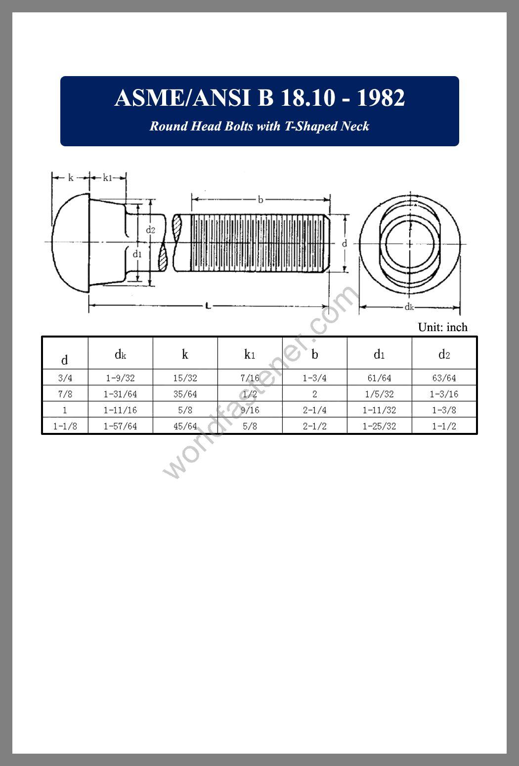 B18.10, ASME-ANSI B18.10 Round Head Bolts, fastener, screw, bolt