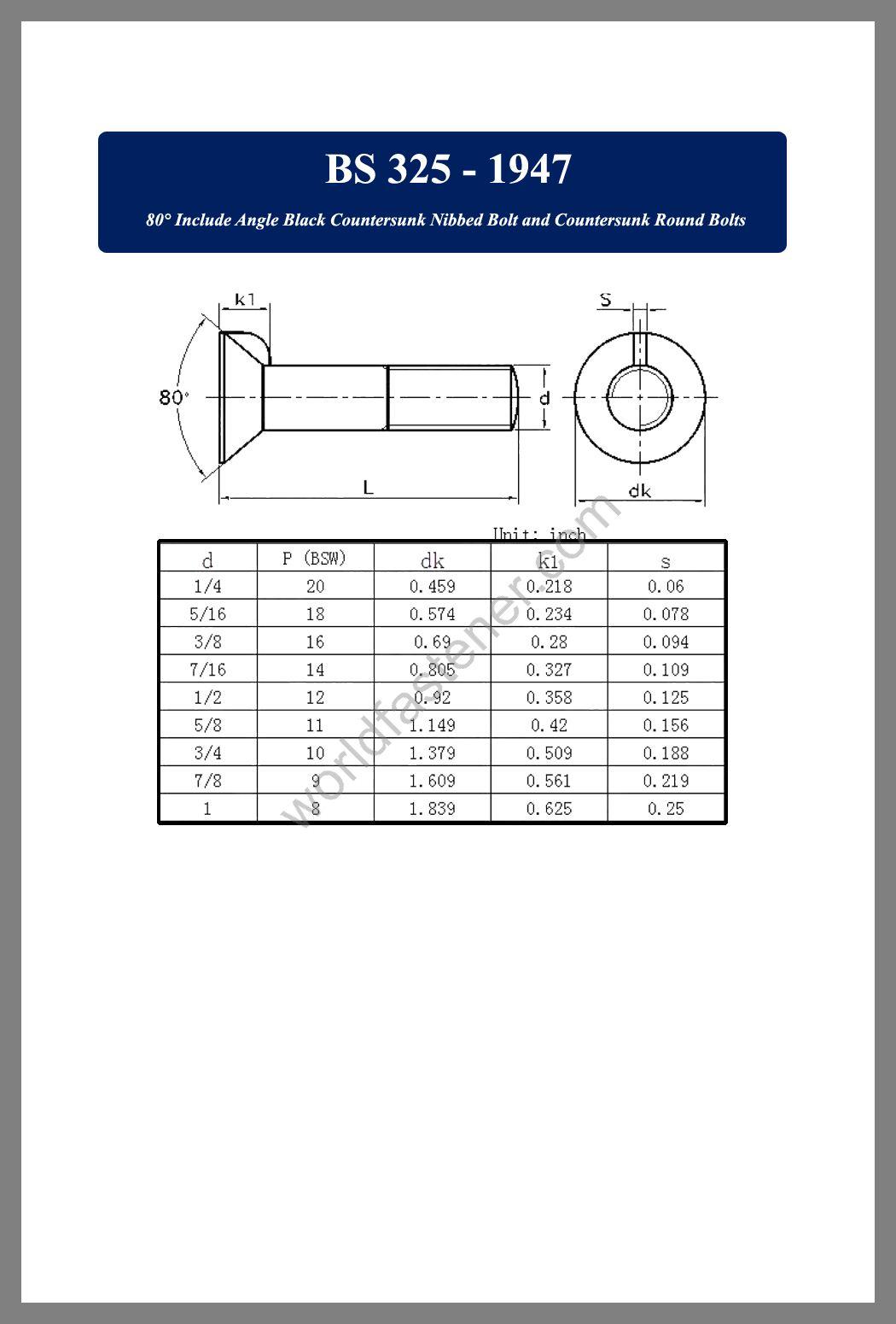 BS 325, Countersunk Head Bolts, Countersunk Head Screws, fastener, screw, bolt, bs standards bolts, bsi standard bolts, bsi standard screws