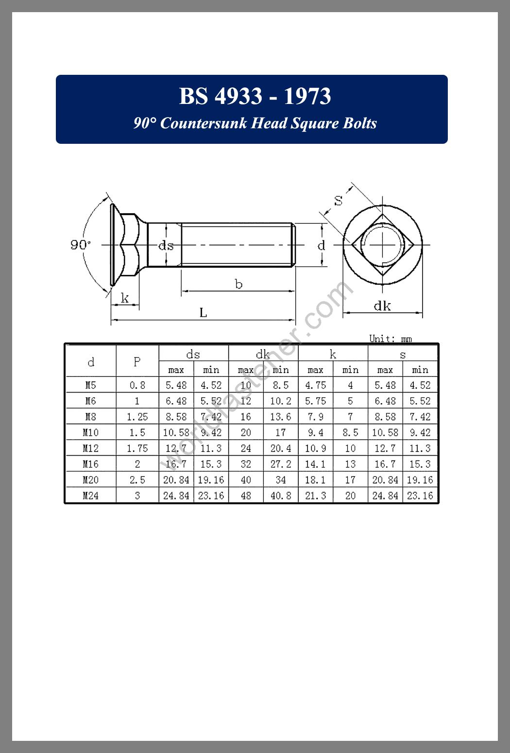 BS 4933 - 90 Degree Countersunk Head Square Bolts, Countersunk Head Bolts, Countersunk Head Screws, fastener, screw, bolt, bs standards bolts, bsi standard bolts, bsi standard screws
