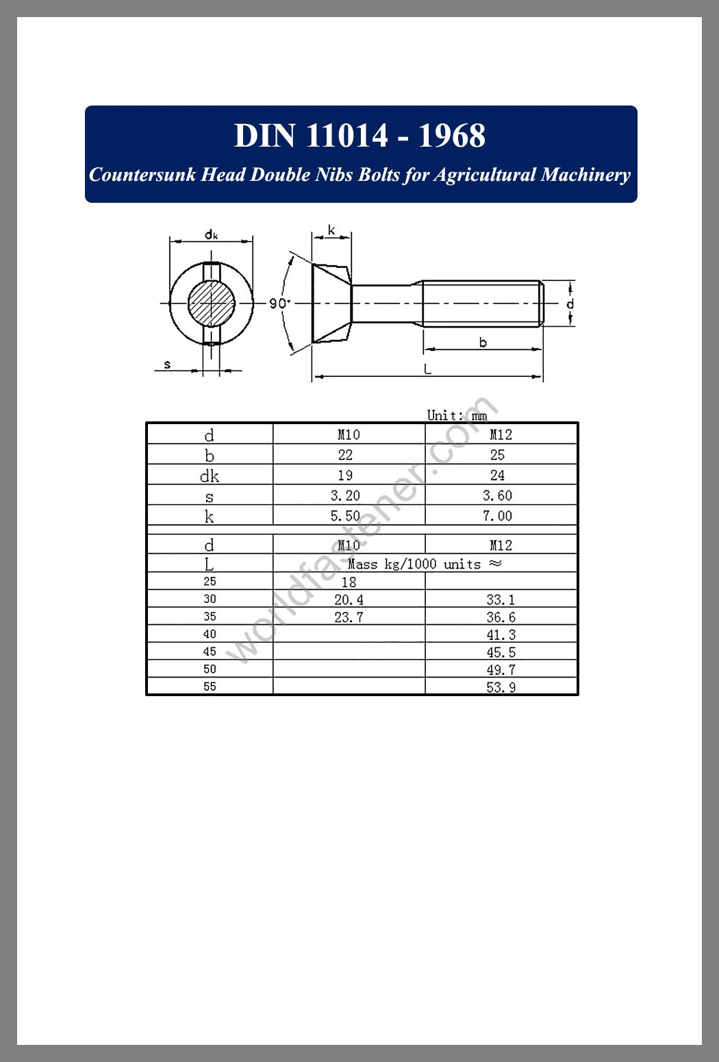 DIN 11014 Countersunk Head Double Nibs Bolts for Agricultural Machinery, Countersunk Head Bolts, Countersunk Head Screws, fastener, screw, bolt, din standard bolts, din standard screws