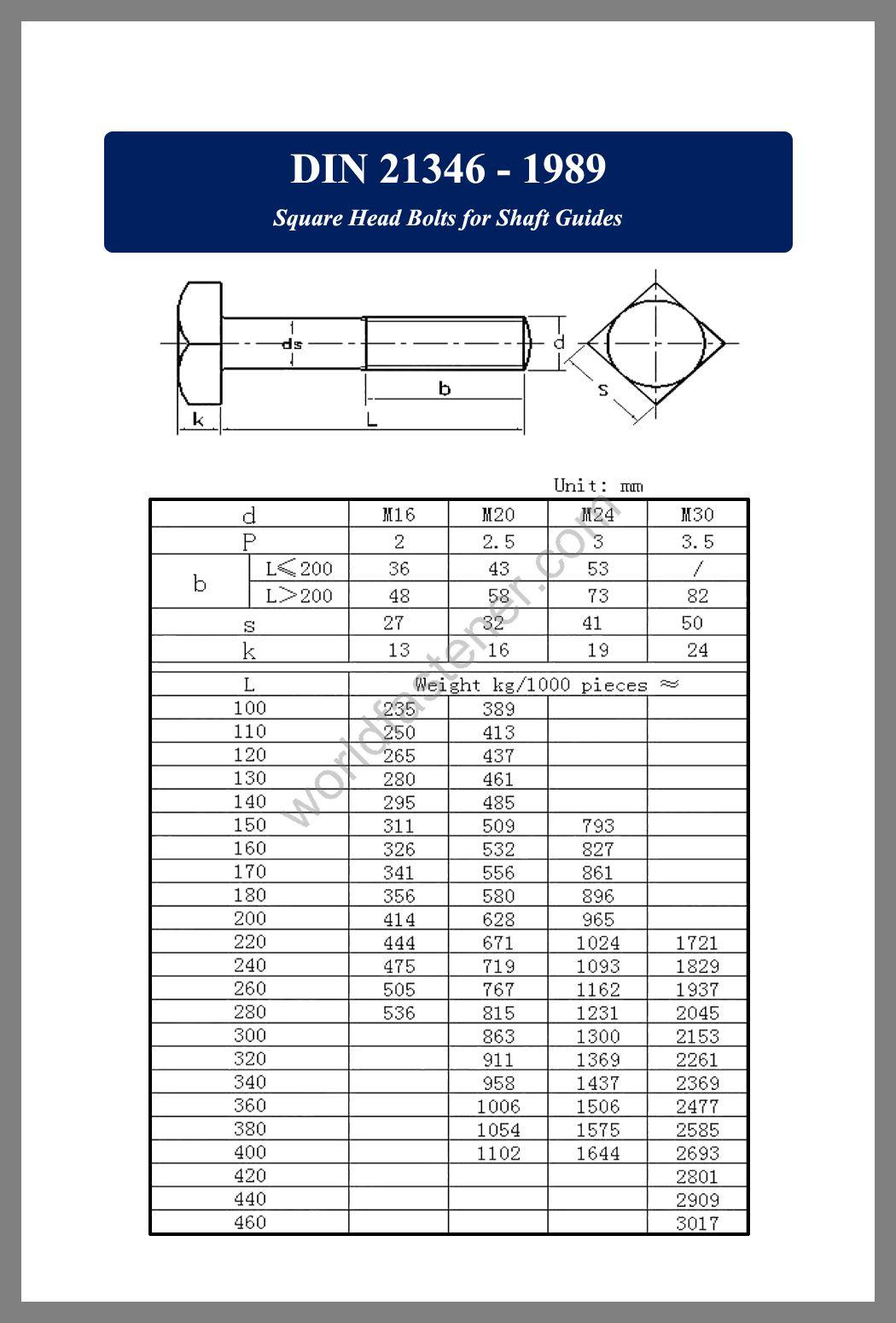 DIN 21346, DIN 21346 Square Head Bolts, fastener, screw, bolt