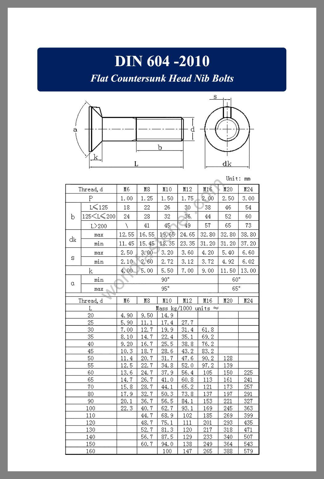 DIN 604 Flat Countersunk Head Nib Bolts, Countersunk Head Bolts, Countersunk Head Screws, fastener, screw, bolt, din standard bolts, din standard screws