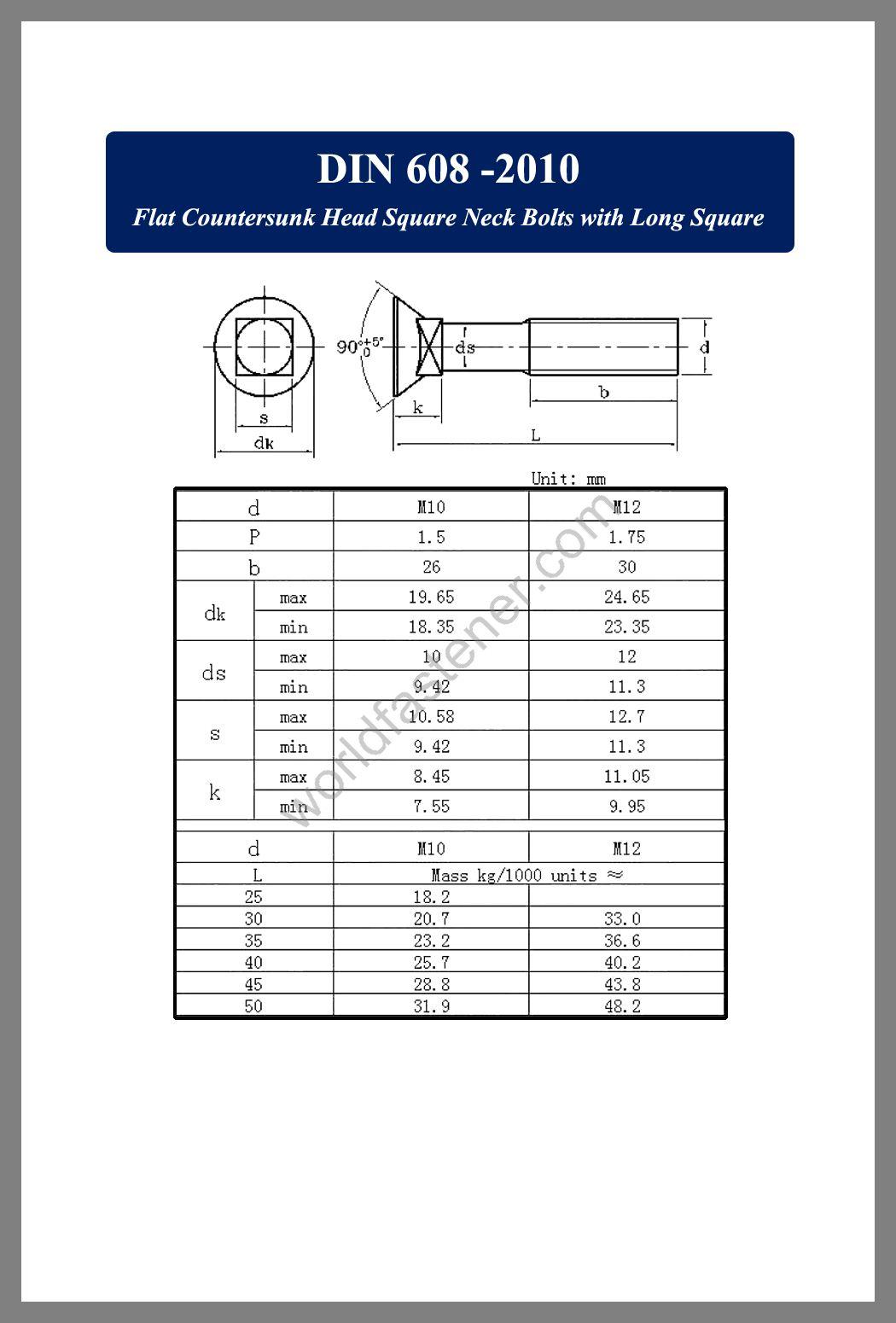 DIN 608 Flat Countersunk Head Square Neck Bolts with Short Square, Countersunk Head Bolts, Countersunk Head Screws, fastener, screw, bolt, din standard bolts, din standard screws
