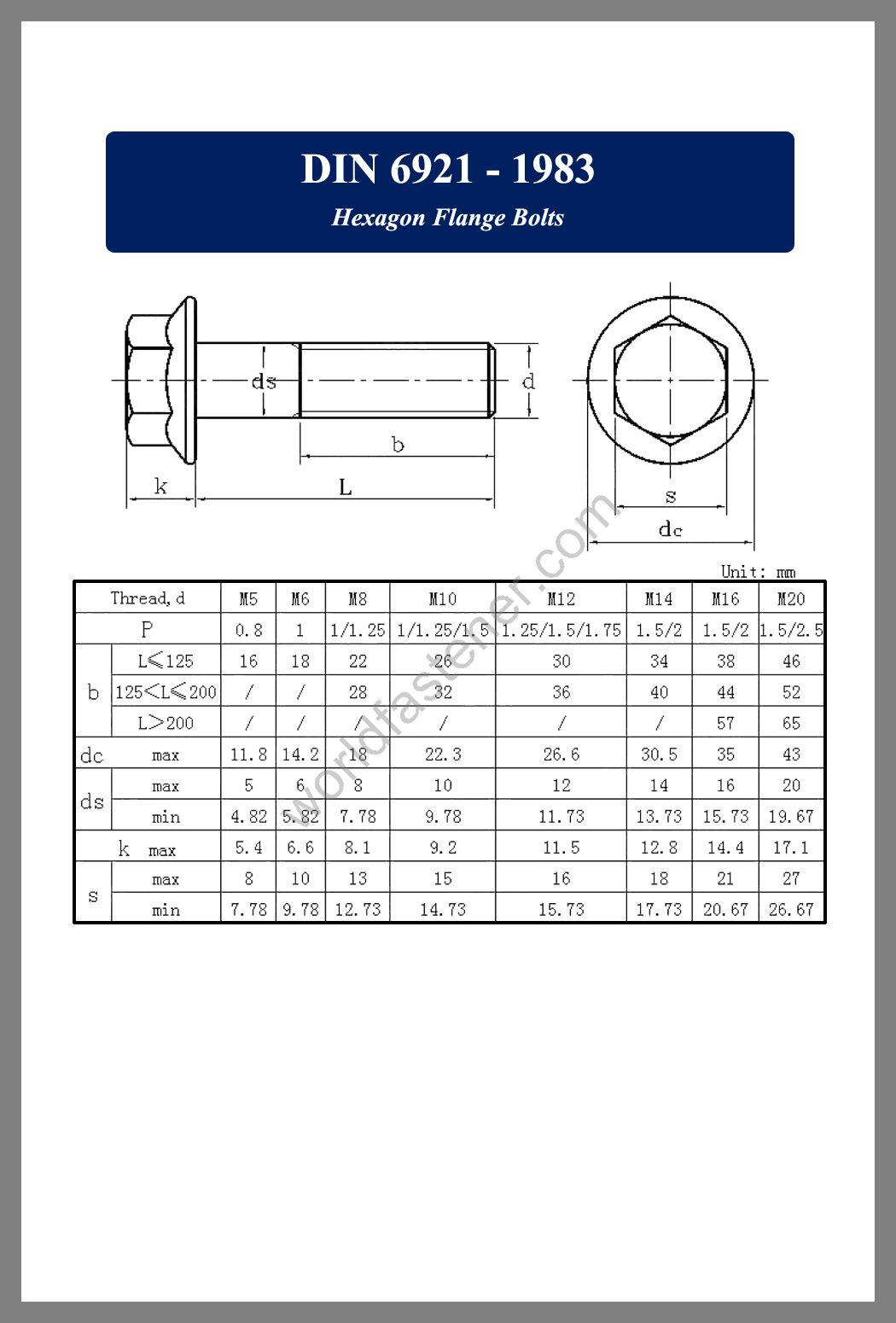 DIN 6921 Hexagon Flange Bolts, DIN 6921, Flanged Bolts, Flange screws, fastener, screw, bolt, ASME bolts, ANSI screws