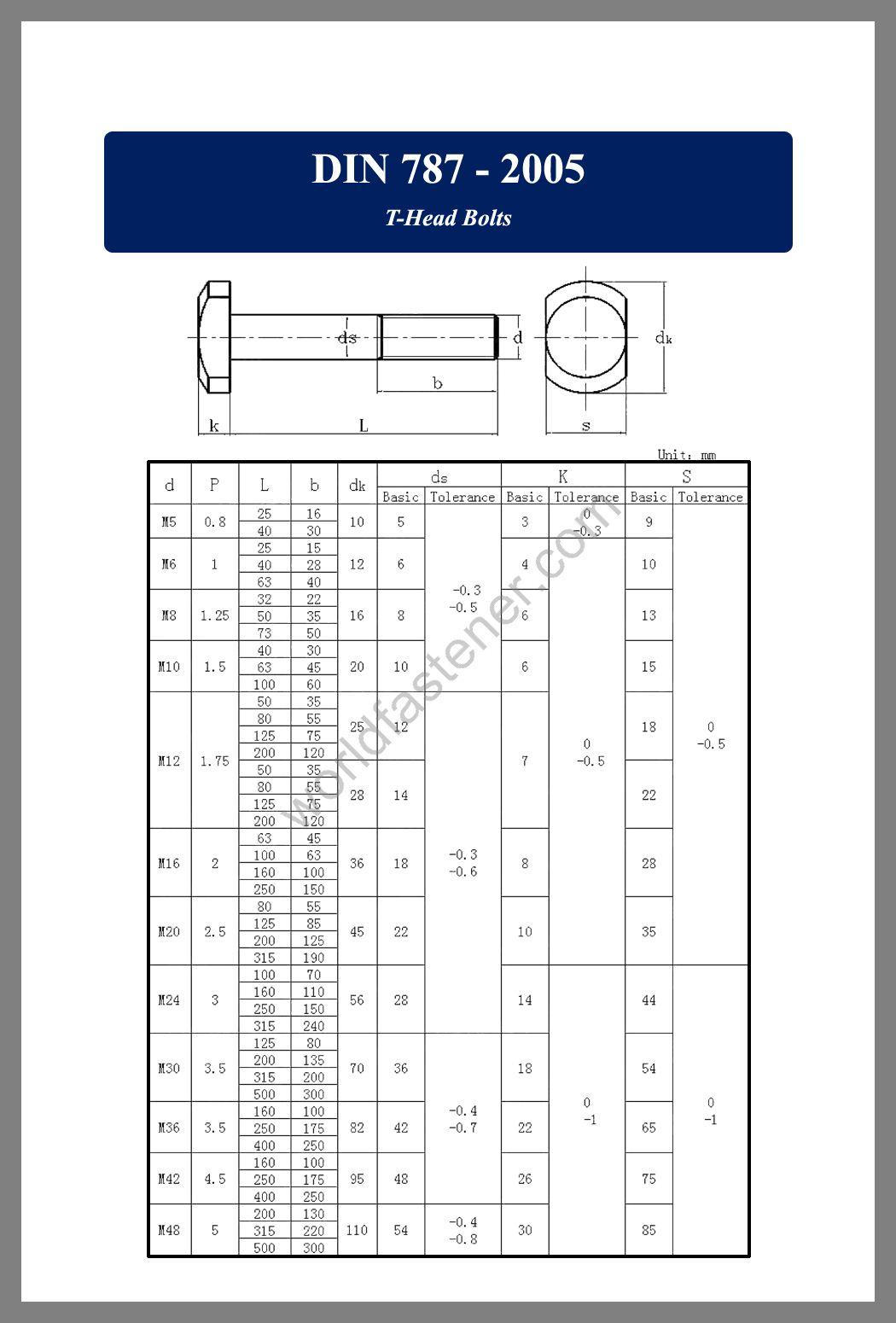 DIN 787, DIN 787 T-Head Bolts with Nib, fastener, screw, bolt