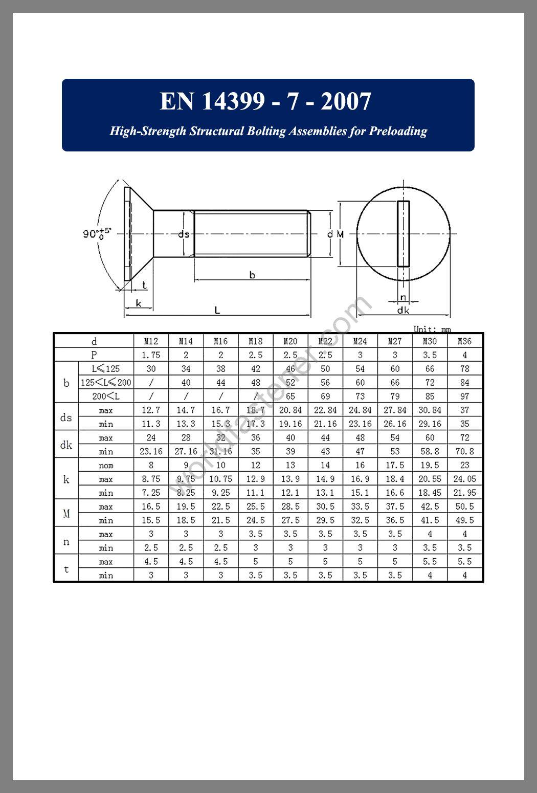EN 14399-7 High Strength Structural Bolting Assemblies for Preloading, Countersunk Head Bolts, Countersunk Head Screws, fastener, screw, bolt, EN standard bolts, EN standard screws