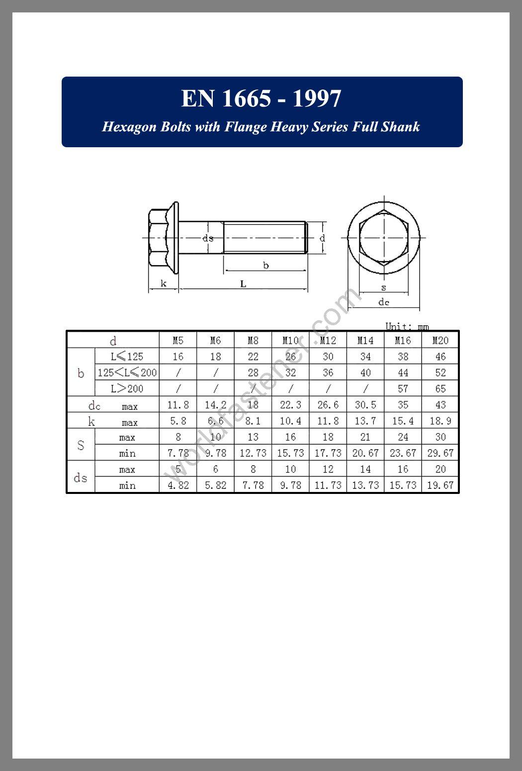 EN 1665, EN 1665 Hexagon Bolts with Flange Heavy Series Full Shank, Flanged Bolts, Flange screws, fastener, screw, bolt, EN bolts