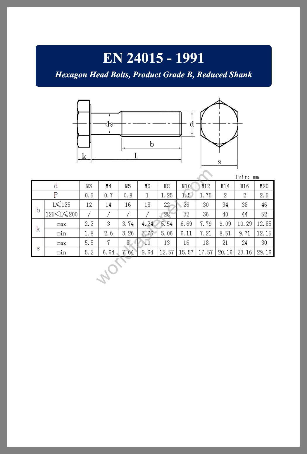 EN 24015, EN 24015 Hexagon Head Bolts, fastener, screw, bolt, EN bolt, EN fastener