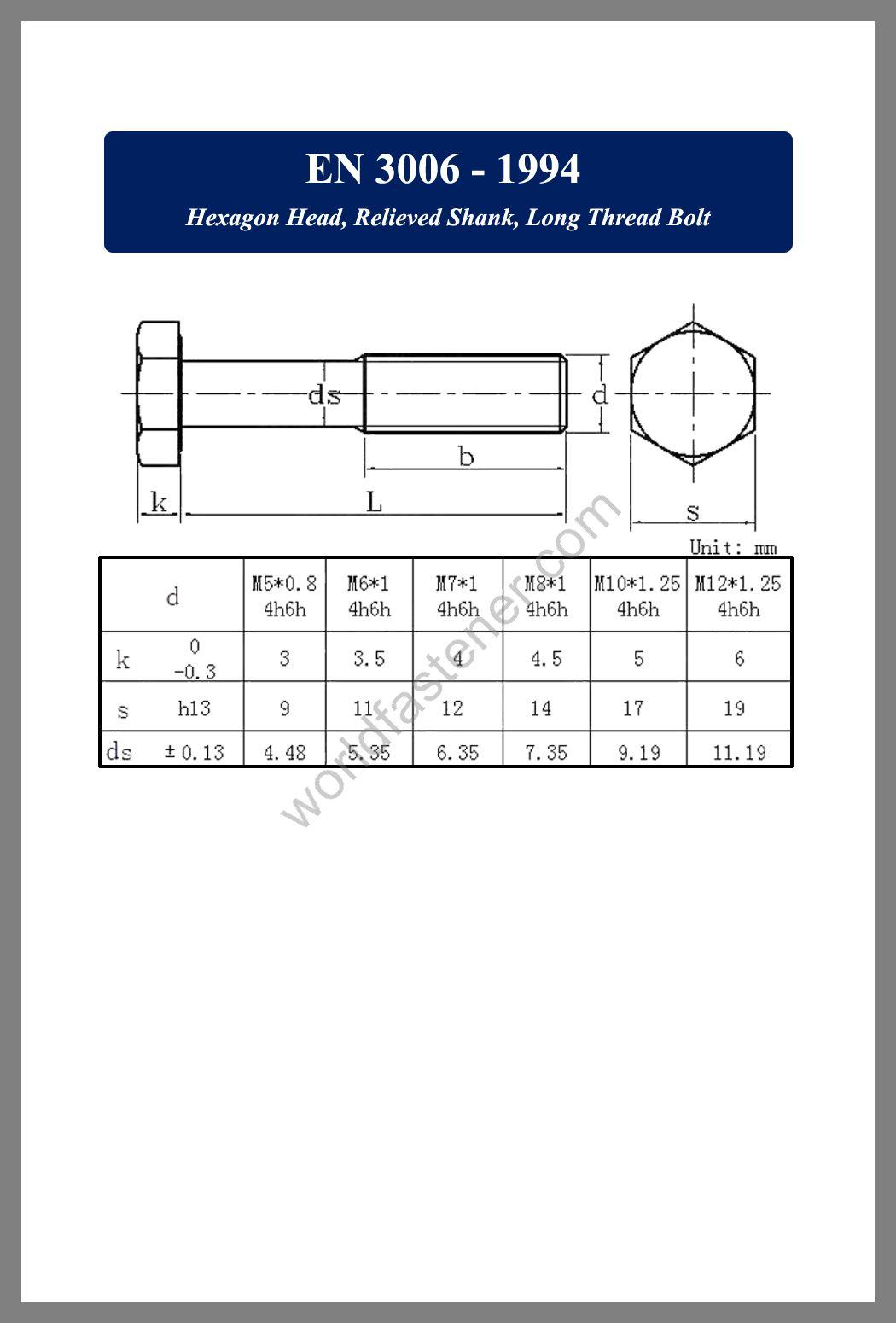 EN 3006, EN 3006 Hexagon Head Relieved Shank, fastener, screw, bolt, EN bolt, EN fastener