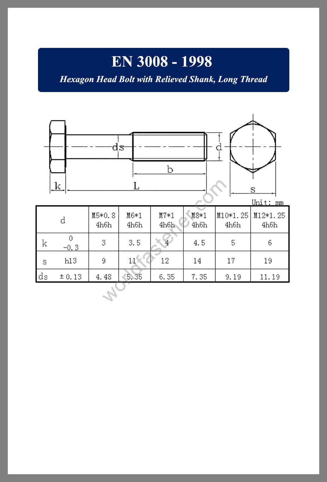 EN 3008, EN 3008-1998 Hexagon Head Bolt with Relieved Shank, fastener, screw, bolt, EN bolt, EN fastener