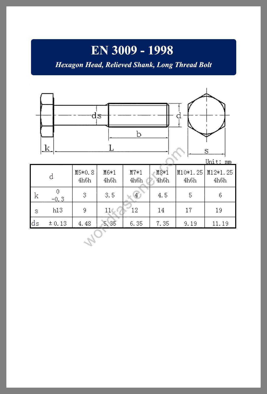 EN 3009, EN 3009 Hexagon Head Bolt with Relieved Shank, fastener, screw, bolt, EN bolt, EN fastener