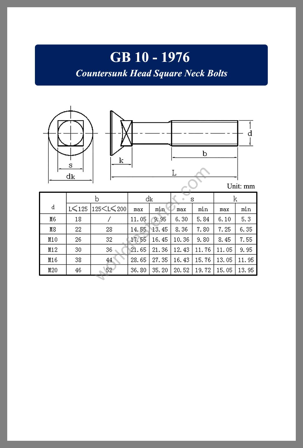 GB 10 Countersunk Head Square Neck Bolts, Countersunk Head Bolts, Countersunk Head Screws, fastener, screw, bolt, GB bolts, GB Fasteners