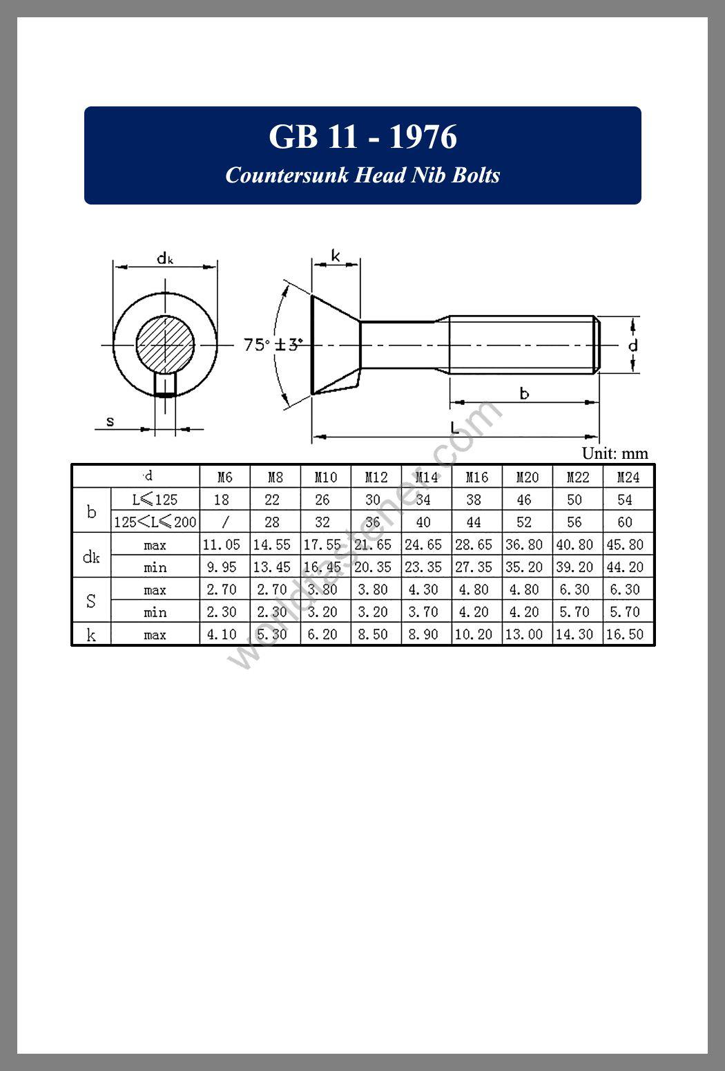 GB /T 11 Countersunk Head Nib Bolts, Countersunk Head Screws, fastener, screw, bolt, GB bolts, GB Fasteners