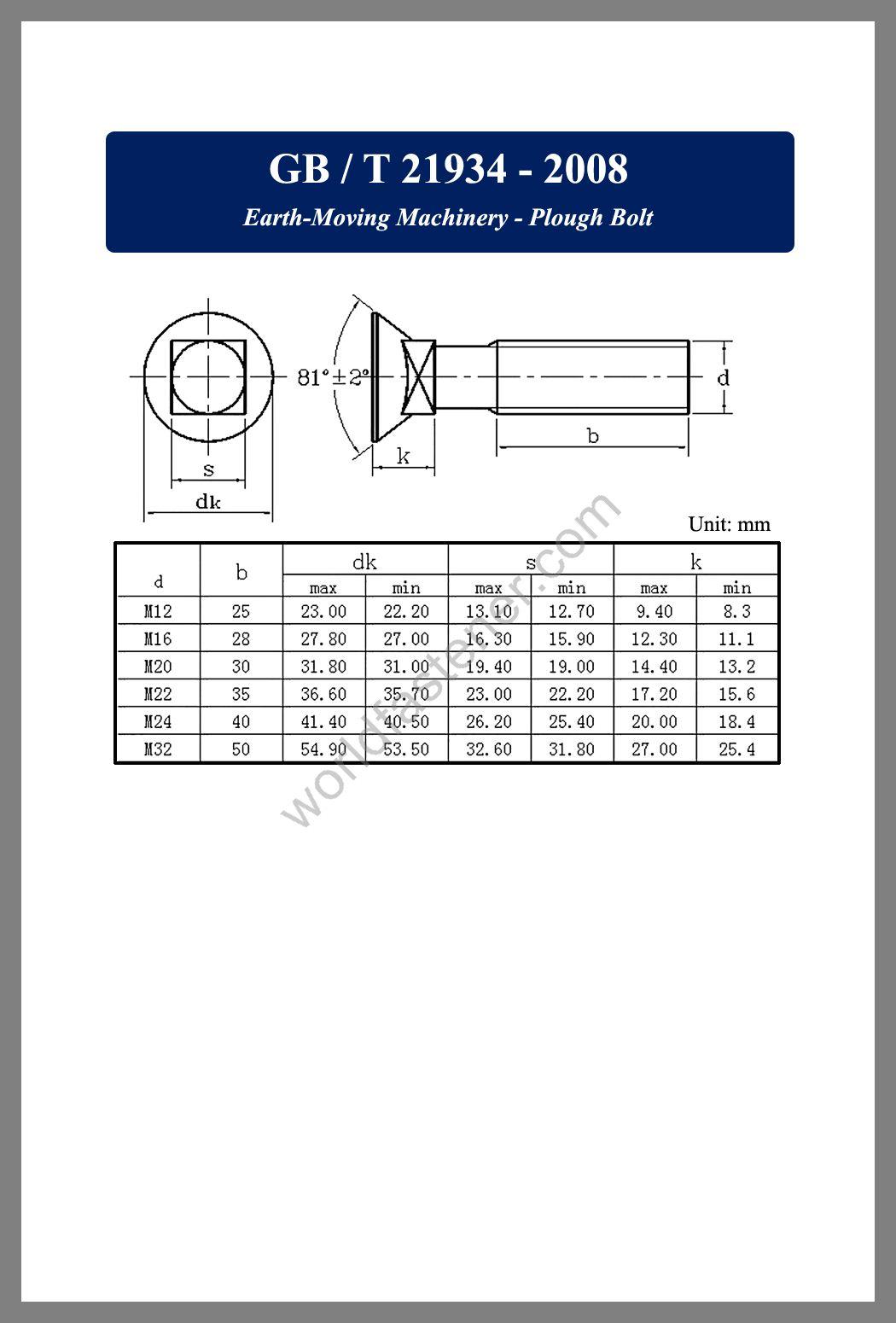 GB /T 21934 Earth-Moving Machinery - Plough Bolt, Countersunk Head Screws, fastener, screw, bolt, GB bolts, GB Fasteners
