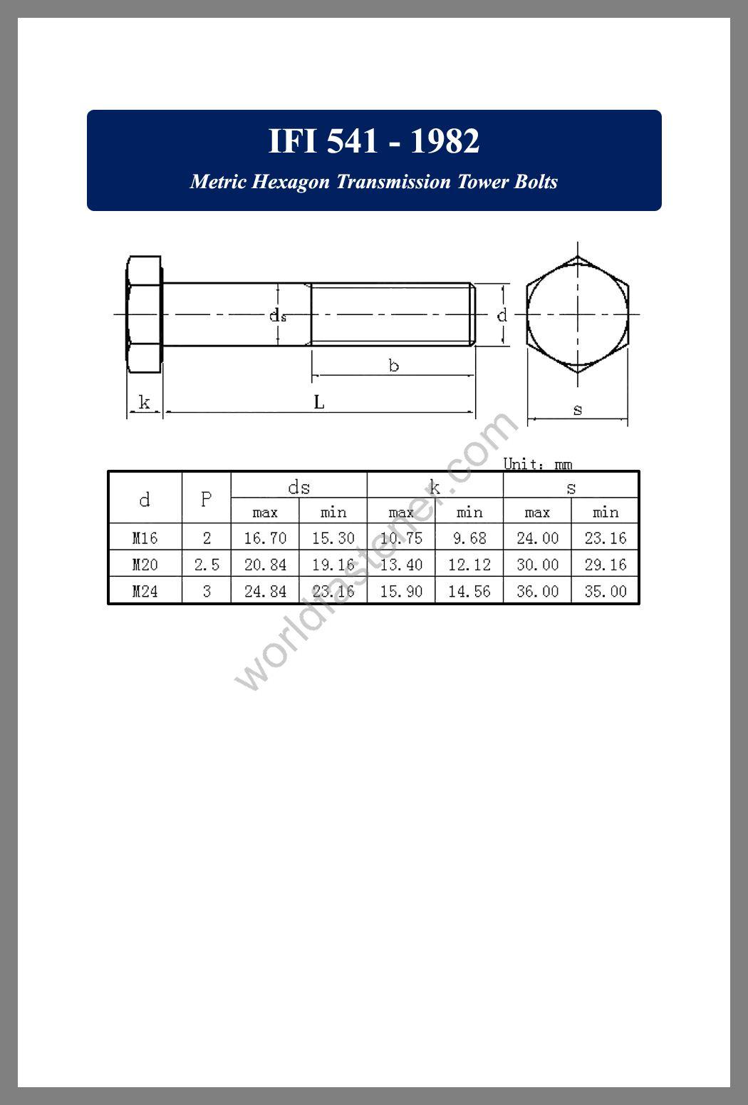 IFI 541, IFI 541 Metric Hexagon Transmission Tower Bolts, fastener, screw, bolt, IFI bolt, IFI fastener