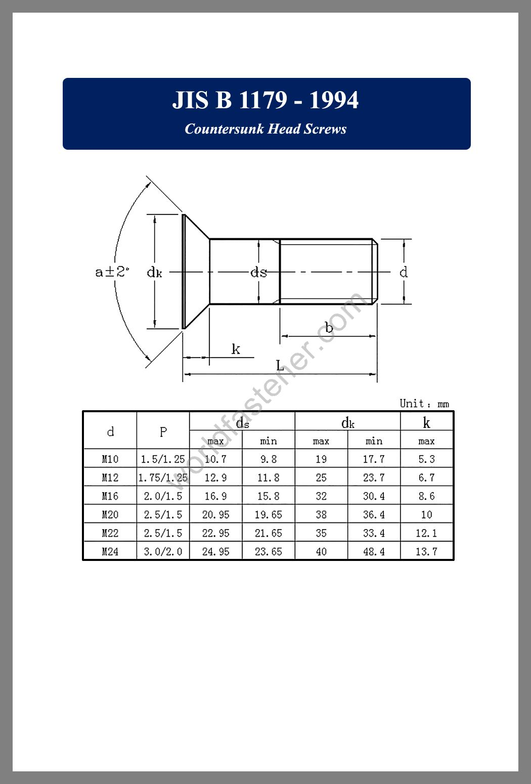 JIS B 1179 Countersunk Head Screws, JIS B1179, Countersunk Head Screws, fastener, screw, bolt, JIS bolts, JIS Fasteners