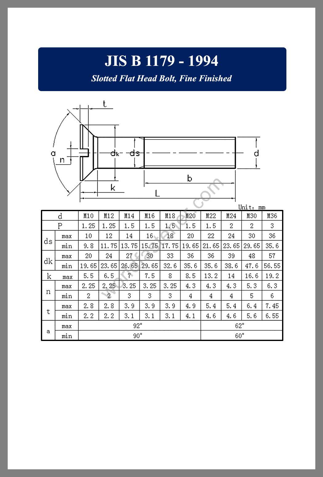 JIS B 1179 Slotted Flat Head Bolt Fine Finished, JIS B1179, Countersunk Head Screws, fastener, screw, bolt, JIS bolts, JIS Fasteners