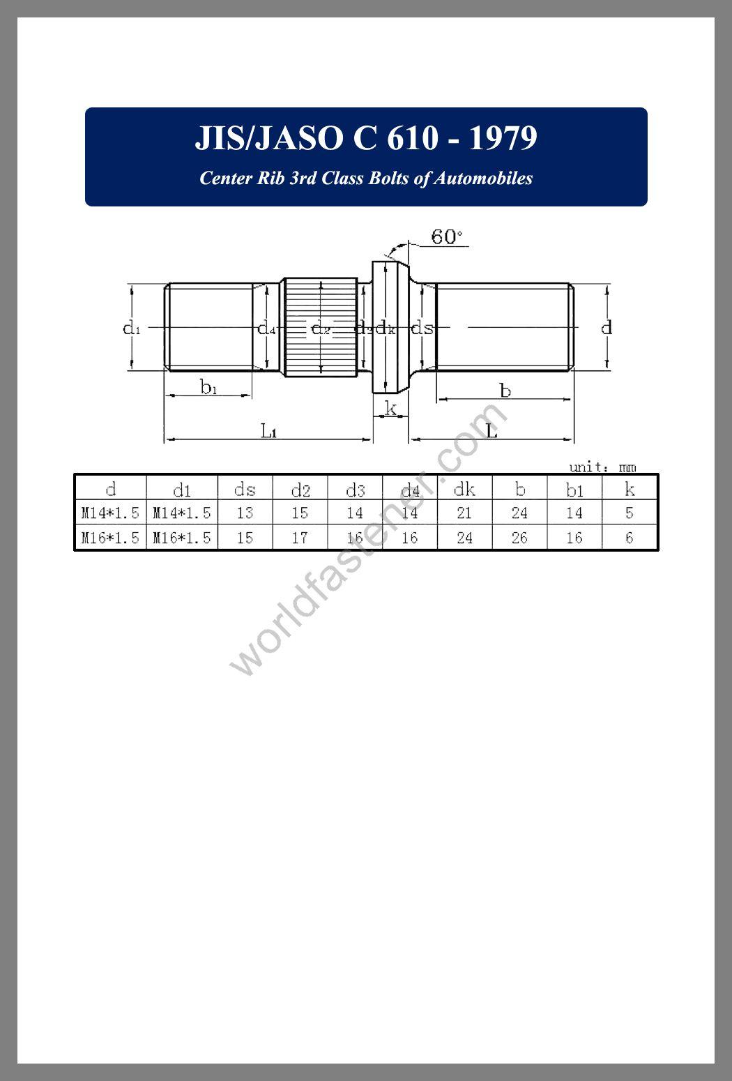 JIS -JASO C610, JIS -JASO C610 Center Rib, Wheel bolt, Wheel nut, fastener, screw, bolt