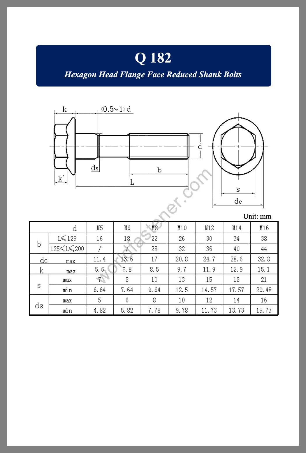 Q 182, Q 182 Flanged Bolts, Flange screws, fastener, screw, bolt, Q bolts