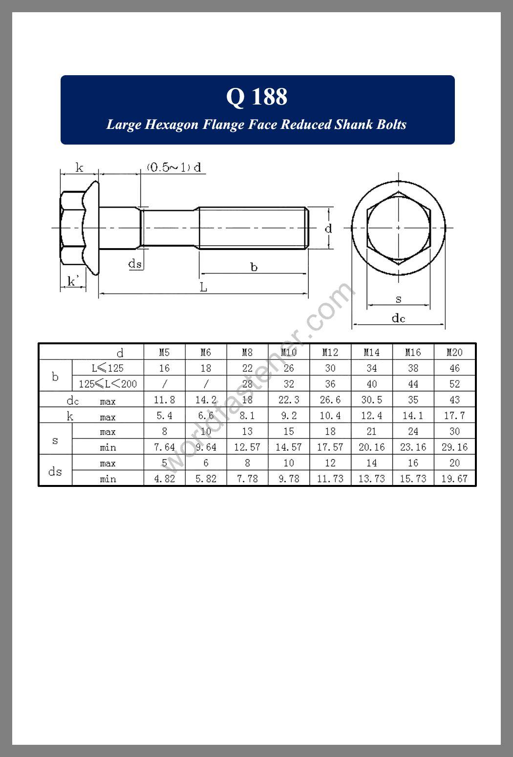 Q 188, Q 188 Flanged Bolts, Flange screws, fastener, screw, bolt, Q bolts