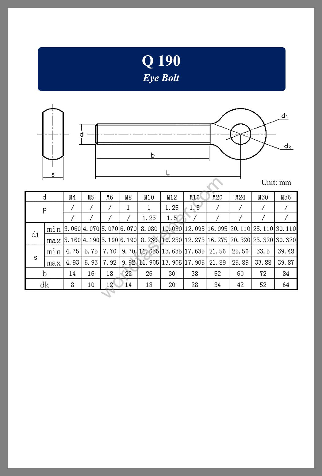 Q 190 Eye Bolt, Eye Bolts, fastener, screw, bolt, Q standard bolts, Q standard screws