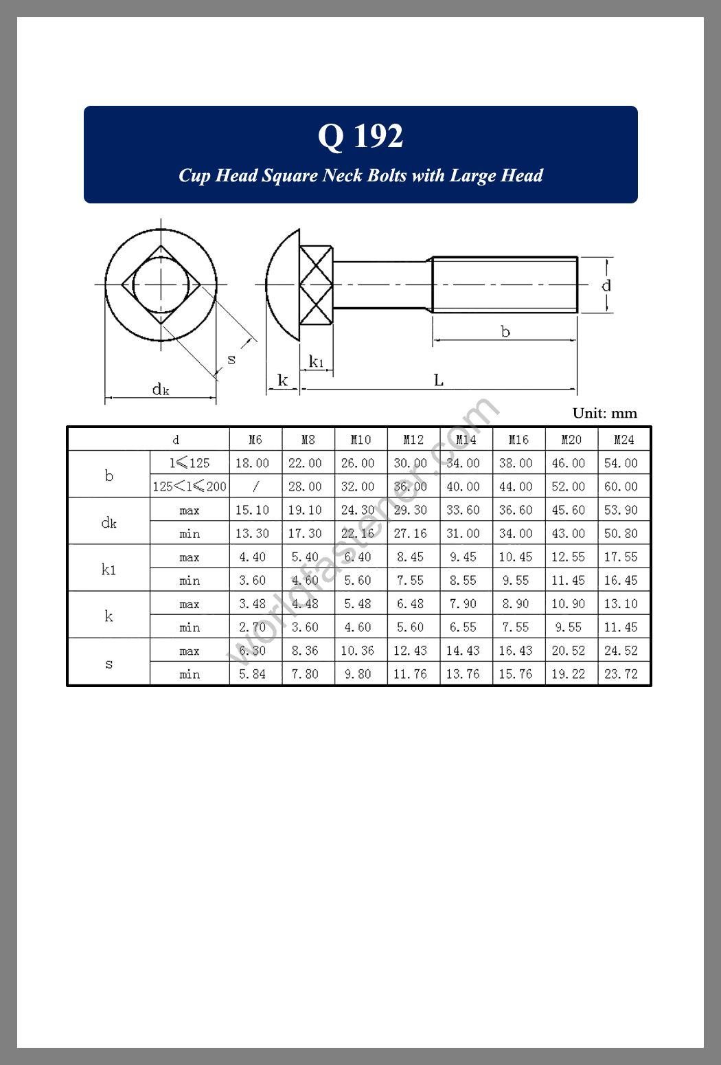 Q 192, Q 192 Cup Head Bolts, fastener, screw, bolt