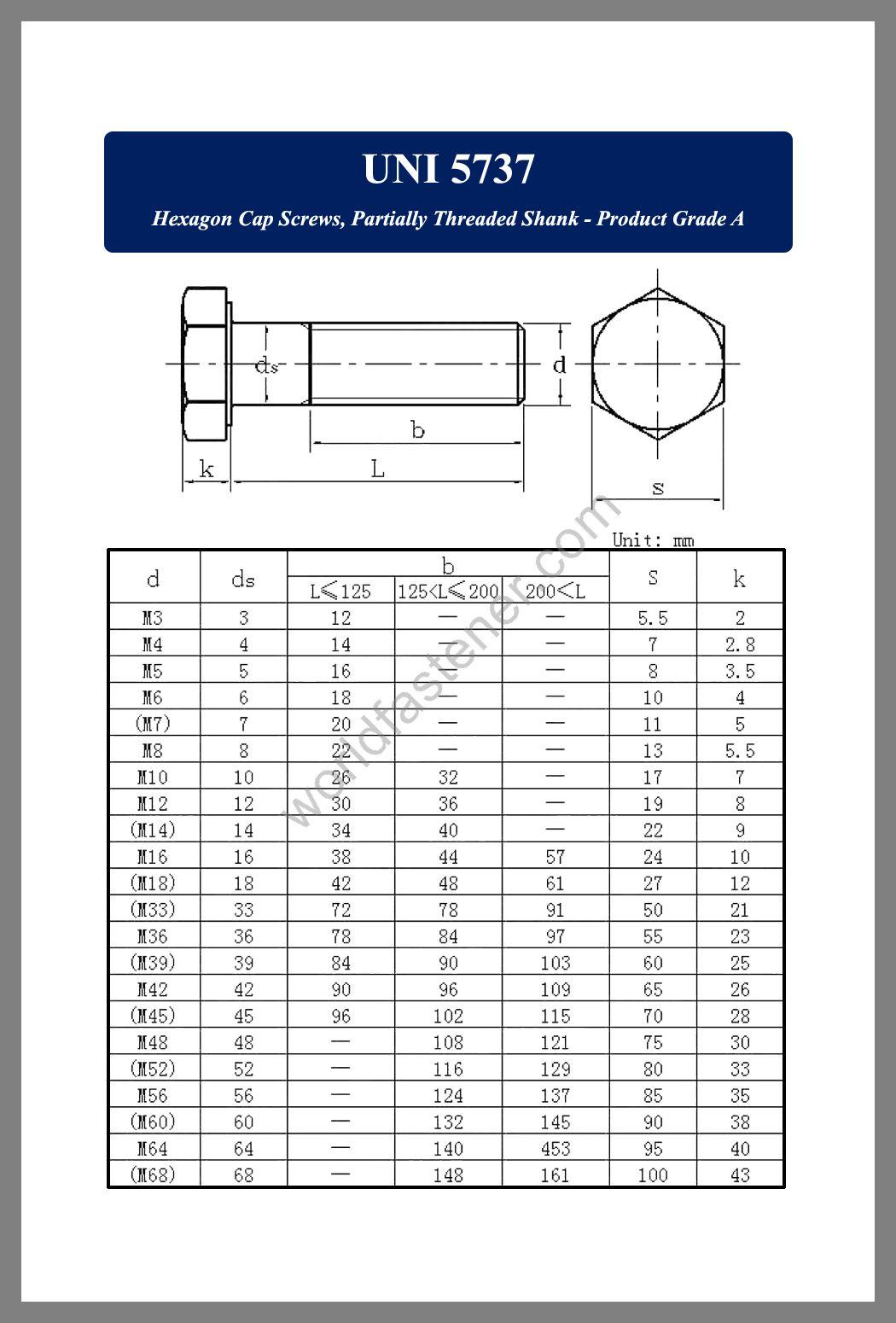 UNI 5737, UNI 5737 Hexagon Cap Screws, fastener, screw, bolt, Q bolt, Q Standard Fastener