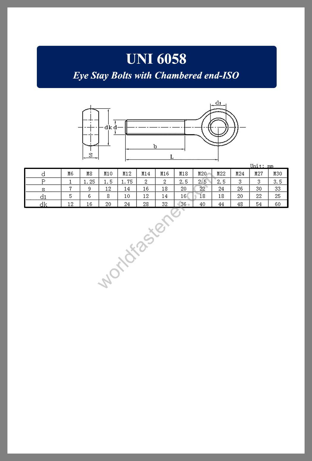 UNI 6058 Eye Stay Bolts with Chamfered End ISO, Eye Bolts, fastener, screw, bolt, UNI standard bolts, UNI standard screws