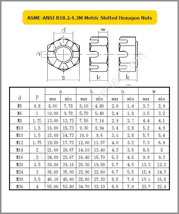 ASME-ANSI B18.2.4.3, Slotted Nut, Fastener, Nut, ASME Nut, ANSI Nut
