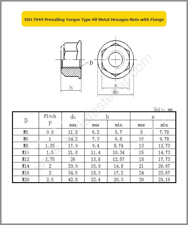 ISO 7044, Locking Nuts, Fastener, Nut, ISO Nut, Prevailing Torque Nuts