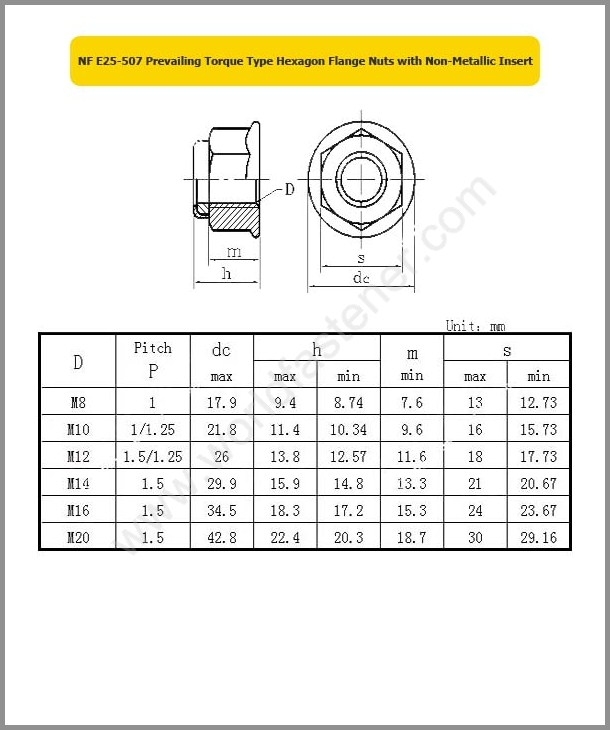 NF E25-507, Locking Nuts, Fastener, Nut, NF Nut, Prevailing Torque Nuts